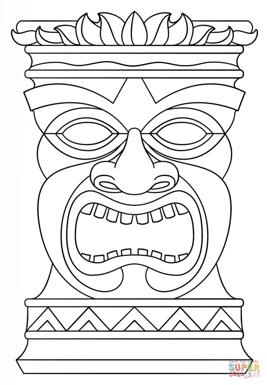 824x1186 Hawaiian Tiki Masks Coloring Pages Tiki Masks
