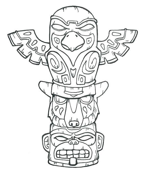 564x689 Tiki Coloring Pages Coloring Pages Coloring Pages Totem Pole