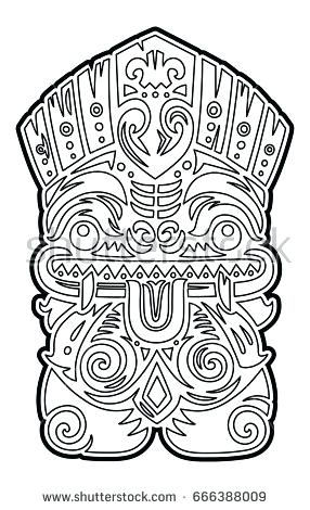 286x470 Tiki Coloring Pages Mask Coloring Page Tiki Statue Coloring Pages