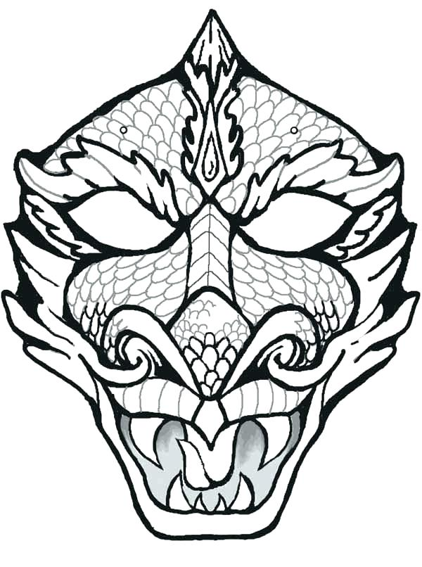 600x806 Tiki Mask Coloring Pages Mask Coloring Page Mask Of Dragon