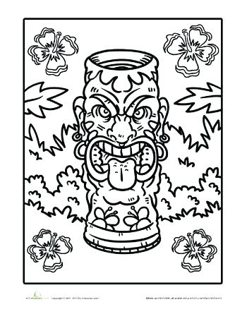 350x445 Tiki Mask Coloring Pages Mask Coloring Pictures Best Party Images