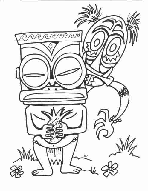 495x640 Free Printable Tiki Coloring Pages Pix For Mask Clip Art Library