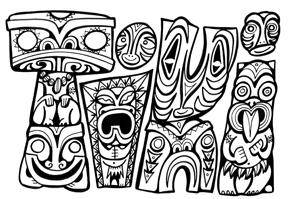 Tiki Head Coloring Pages