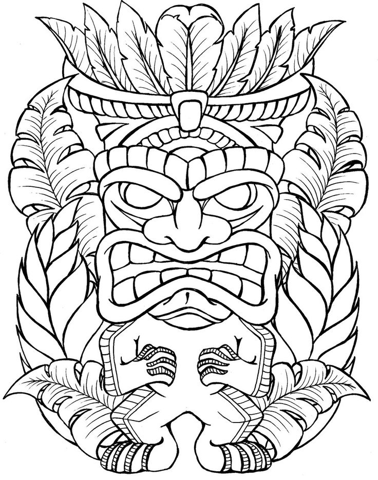 Tiki Hut Coloring Page