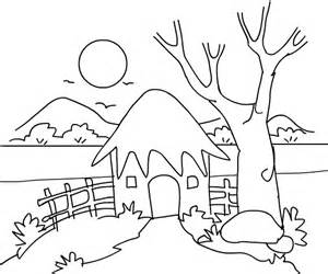 300x250 Hut Clipart Colouring Page