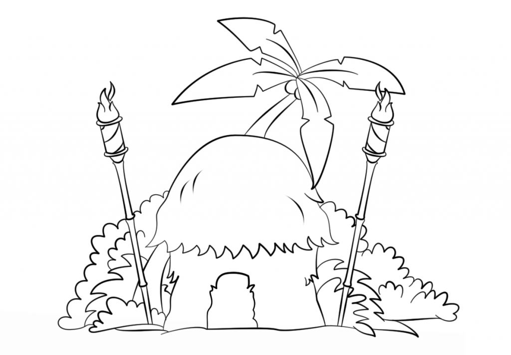 1024x711 Tiki Art Hut With Torches Coloring Page