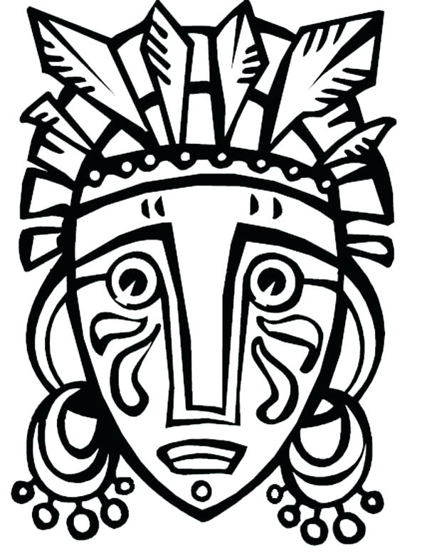 600x777 Tiki Coloring Pages Faces Coloring Pages Drawn Masks Color Pencil