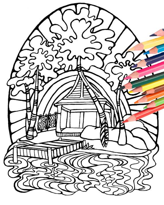 570x713 Tiki Surf Hut Coloring Page