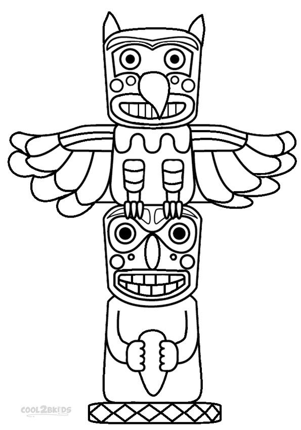 595x850 Totem Pole Coloring Pages Printable