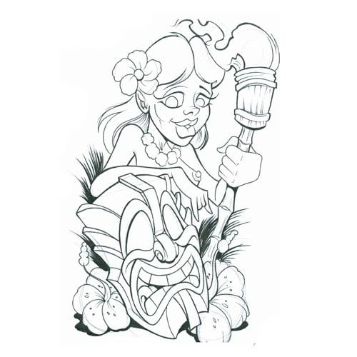 500x500 Tiki Coloring Pages