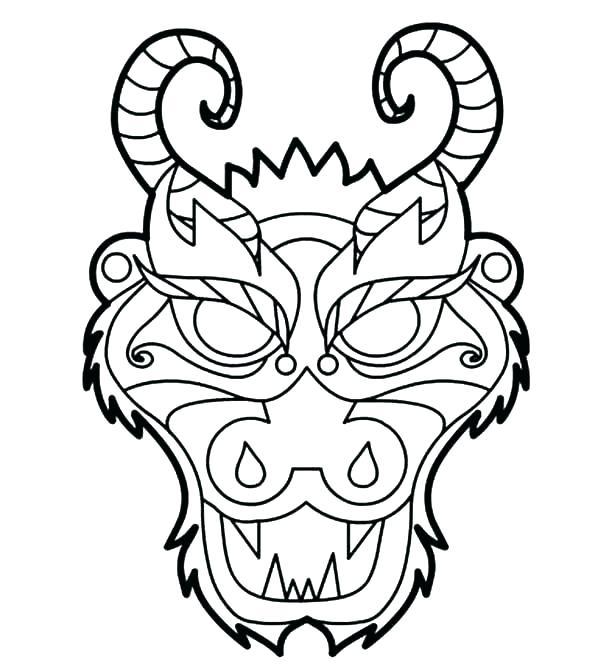 600x671 Mask Coloring Pages Mask Coloring Pages Mask Coloring Page Dragon