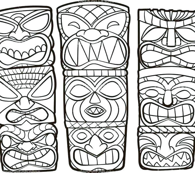 678x600 Tiki Mask Coloring Pages Masks Mask Template Hawaiian Tiki Mask