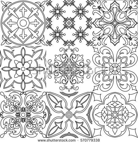 Big Set Of Tiles Background In Black And White. For Coloring ... | 470x450