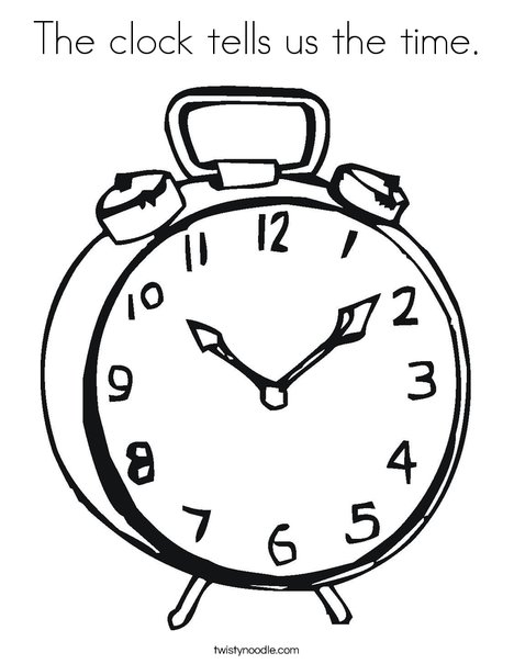 468x605 The Clock Tells Us The Time Coloring Page