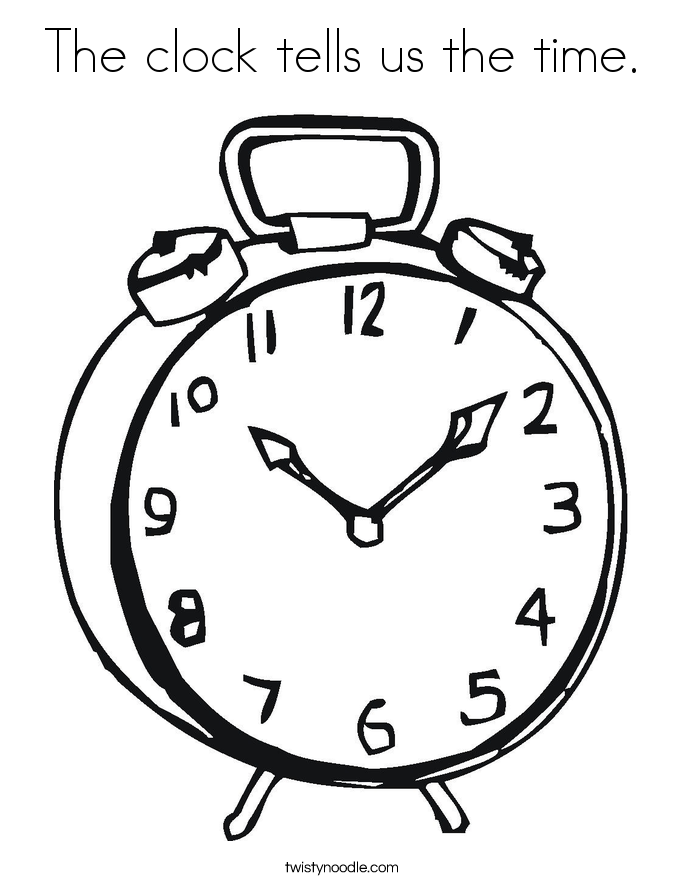 685x886 The Clock Tells Us The Time Coloring Page
