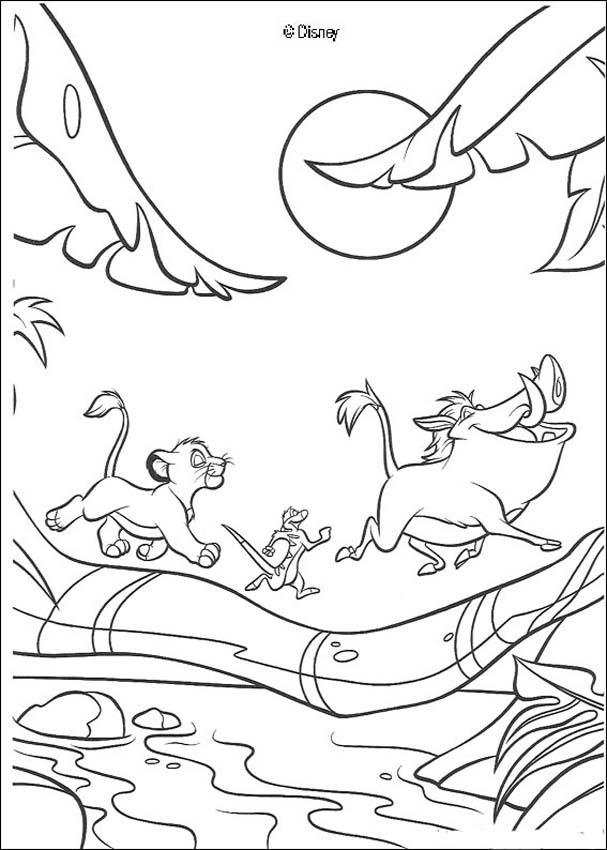 607x850 Simba, Timon And Pumbaa Playing In The Jungle Coloring Pages