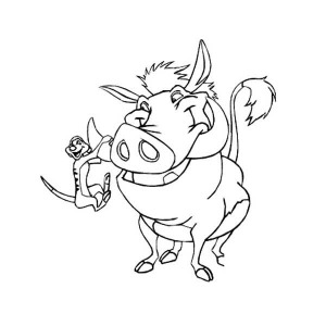 300x300 Timon And Pumbaa Running Very Fast Coloring Page Coloring Sun