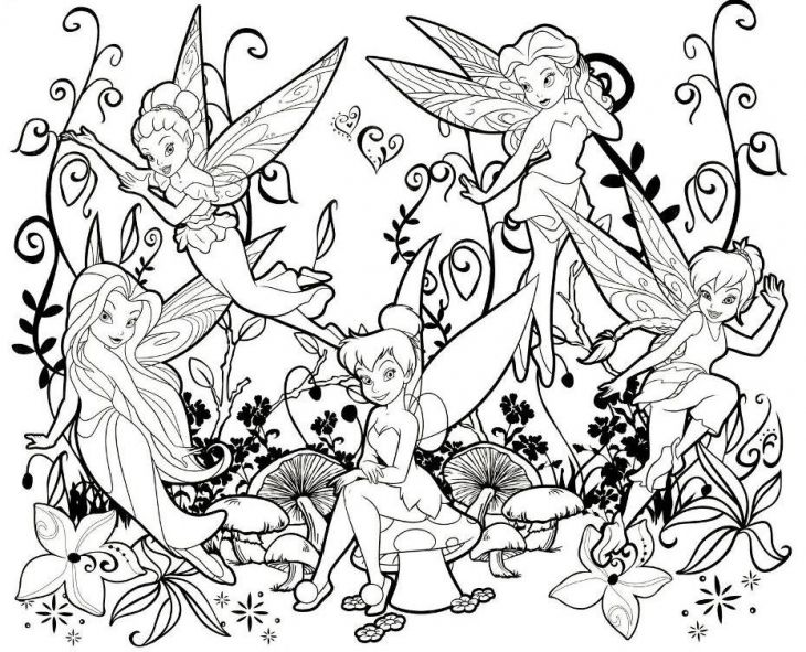 730x591 Online Printable Tinkerbell And Other Fairies Coloring Page