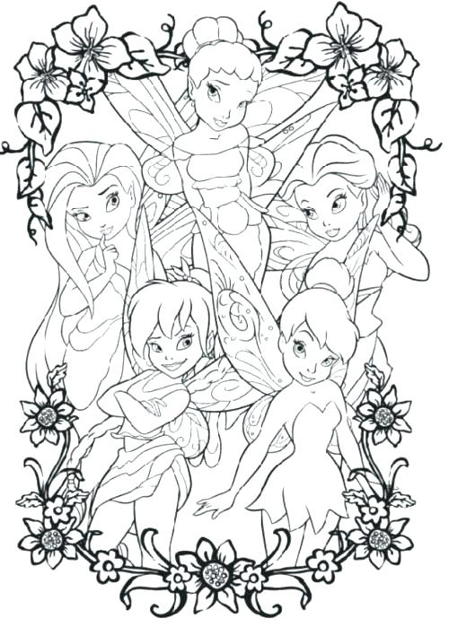 500x699 Coloring Pages Of Tinker Bell And Four Friends Coloring Coloring