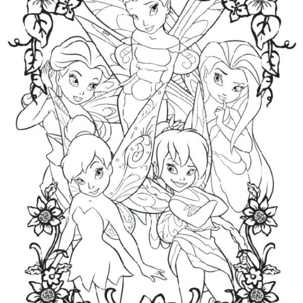 600x600 Coloring Pages Of Tinkerbell And Her Fairy Friends Free Coloring