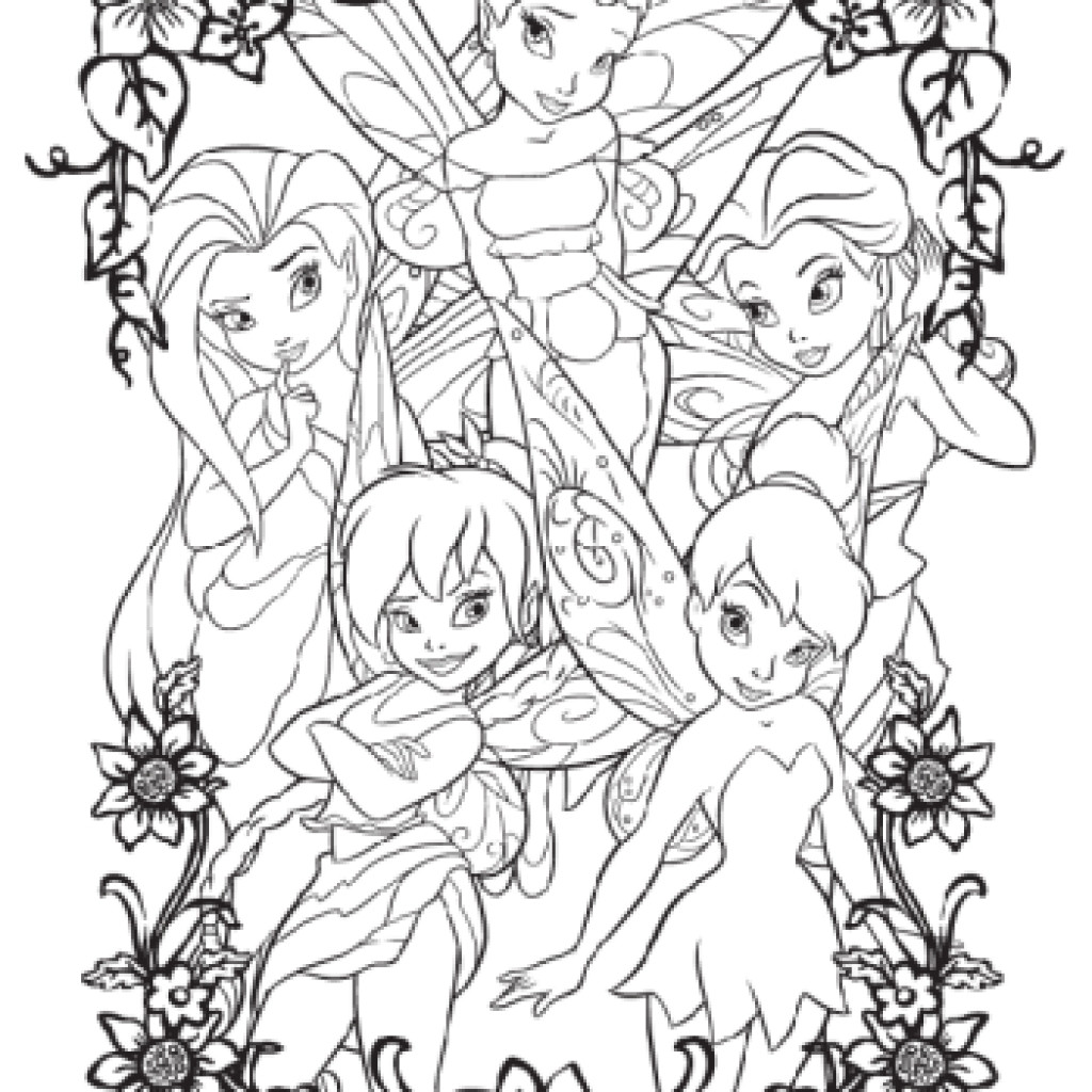 1024x1024 Tinkerbell And Her Friends Coloring Pages Dringrames Org Endear