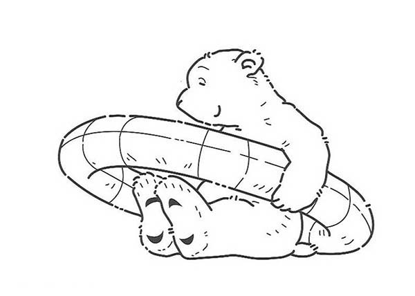 600x428 Lars The Little Polar Bear Found Rubber Tire Coloring Pages