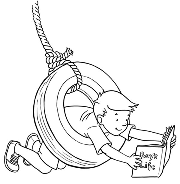 600x612 Boy Play With Car Tire Swing Coloring Pages Best Place To Color