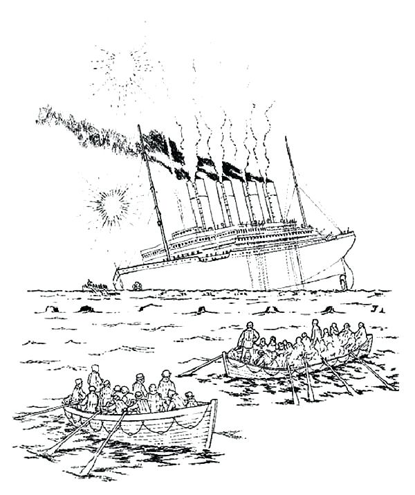 600x715 Titanic Coloring Pages Depiction The Sinking Of Titanic Coloring