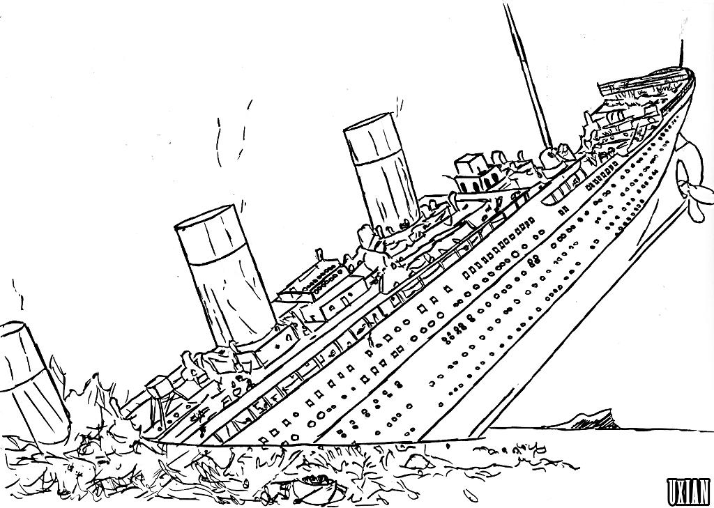 1024x729 Titanic Coloring Pages Printable Titanic Coloring Page