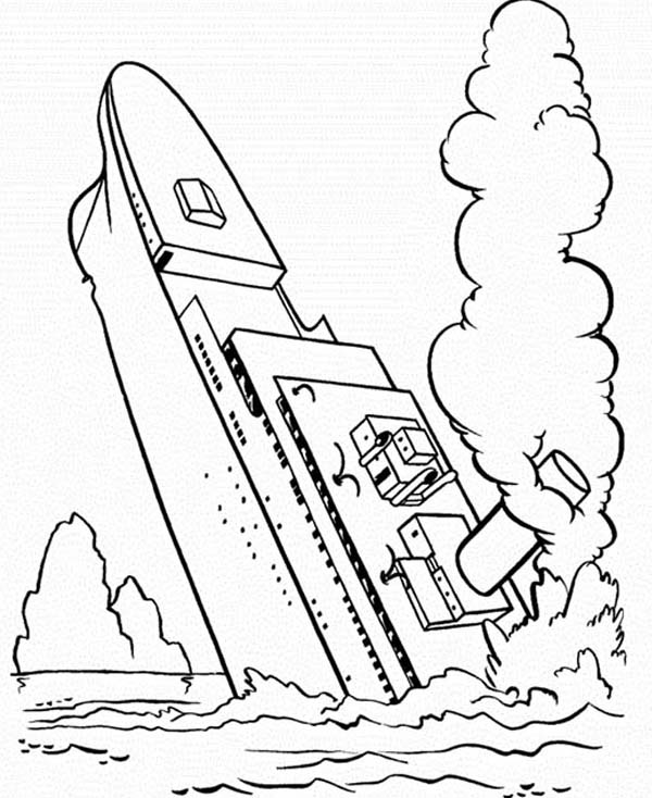 600x734 Titanic Half Sinking Coloring Pages Batch Coloring