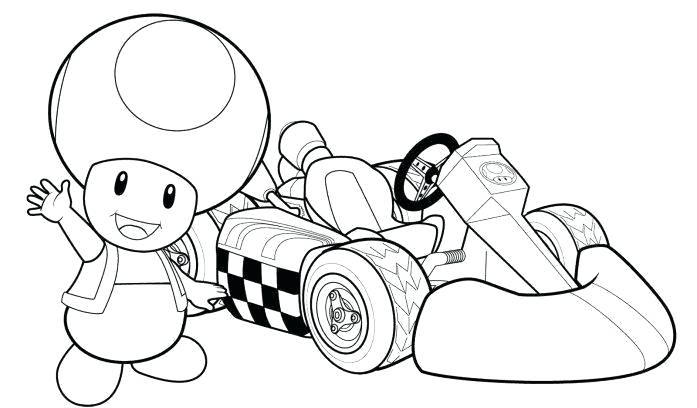 697x408 Coloring Page Mario Print Toad Kart Racing Coloring Pages