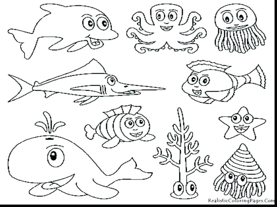970x727 Ocean Animals Coloring Pages Pdf Printable Coloring Animal
