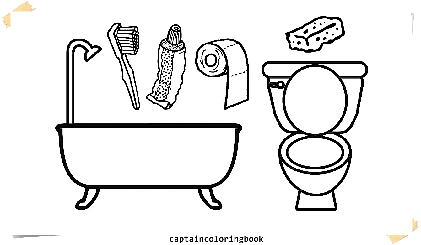 1341x782 Coloring Pages Bathrooms L Bath Tub Lilet Drawing Pages