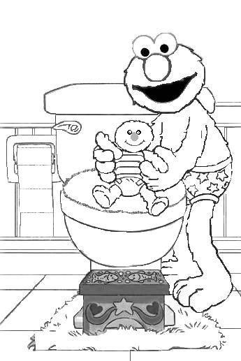 345x517 Elmo Potty Coloring Page Pre Schooling Elmo Potty