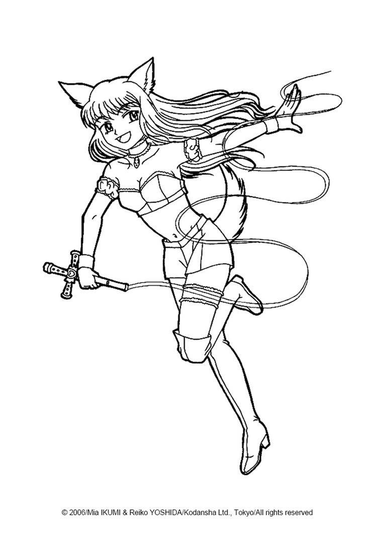 750x1060 Fighting Zakuro Fujiwara Coloring Page More Tokyo Mew Mew
