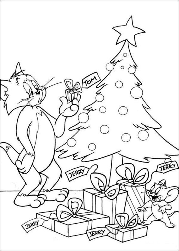 600x840 Tom Jerry Coloring Page Christmas Coloring Pages
