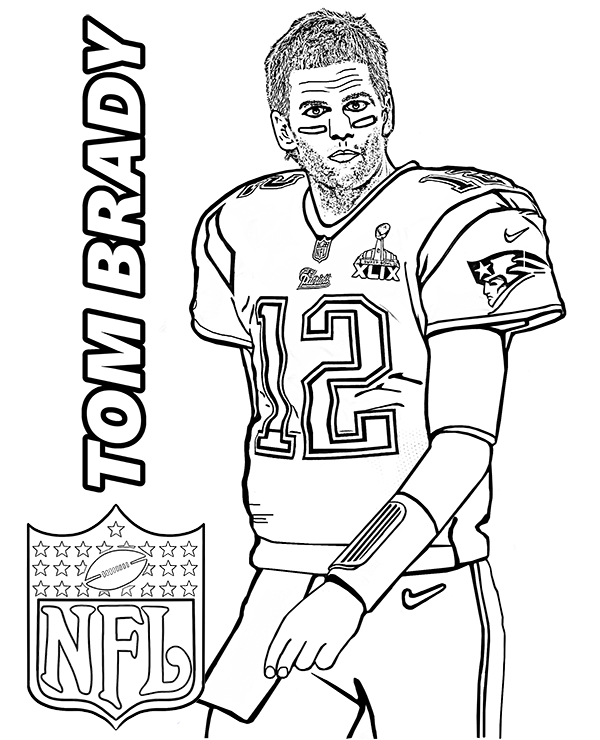 600x740 Tom Brady Coloring Page With American Football Player