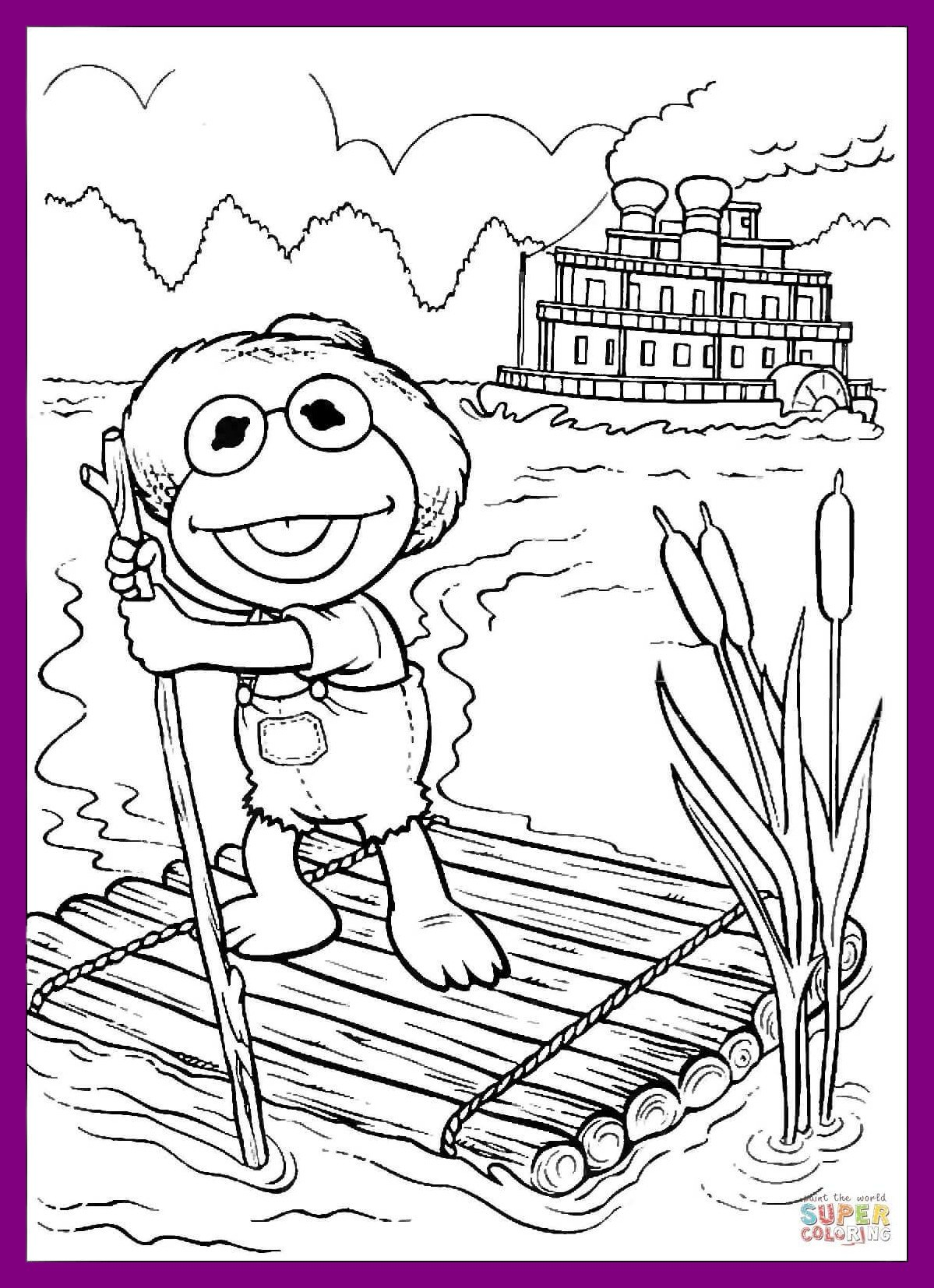 1199x1654 Shocking Baby Kermit Tom Sawyer On A Raft Coloring Page Printable
