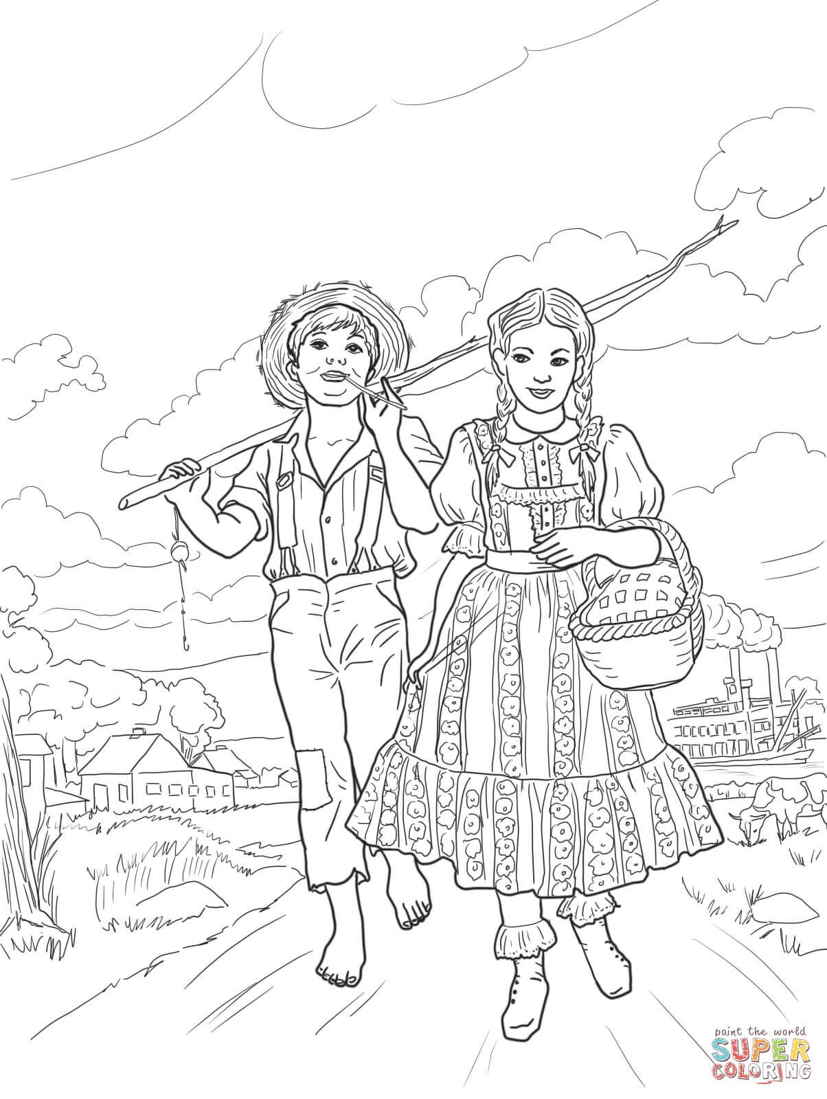 1204x1600 Tom Sawer And Amy Lawrence Super Coloring Coloring America