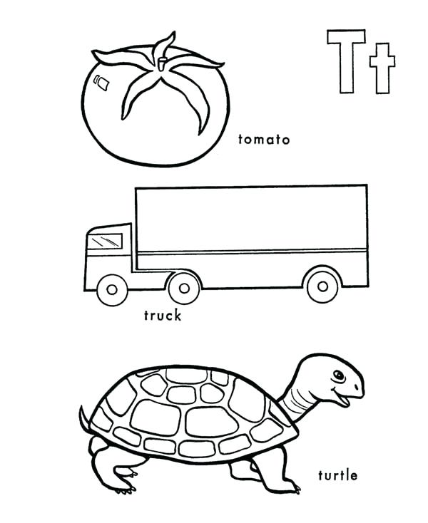600x734 T Coloring Page Tomato Truck And Turtle In Learning Letter T
