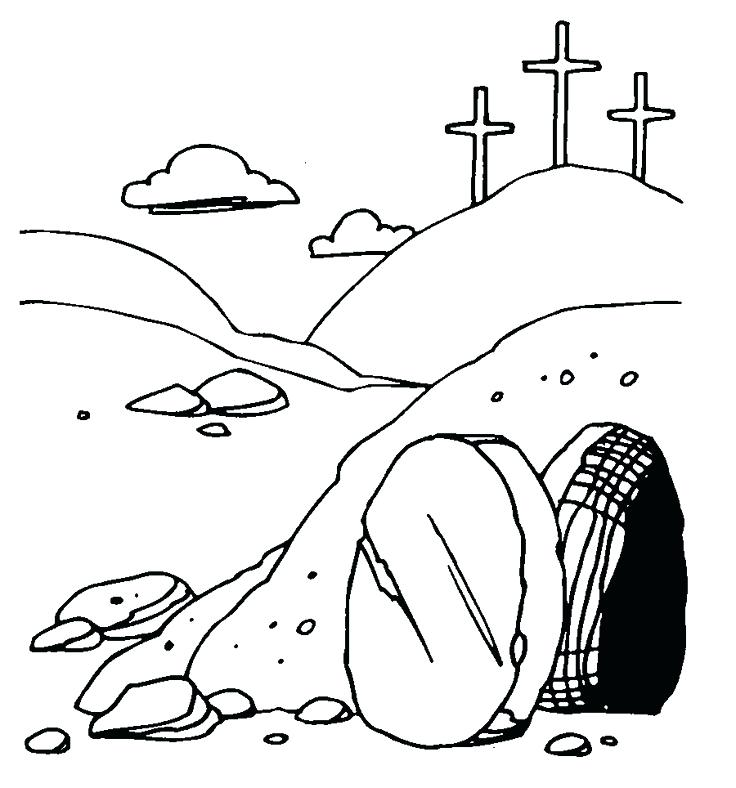 736x788 Jesus Empty Tomb Coloring Pages The Resurrection Of Coloring Page