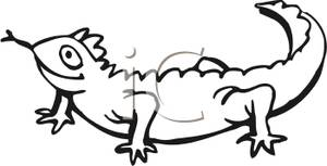 300x153 Animal Coloring Page Of A Lizard With Its Tongue Out