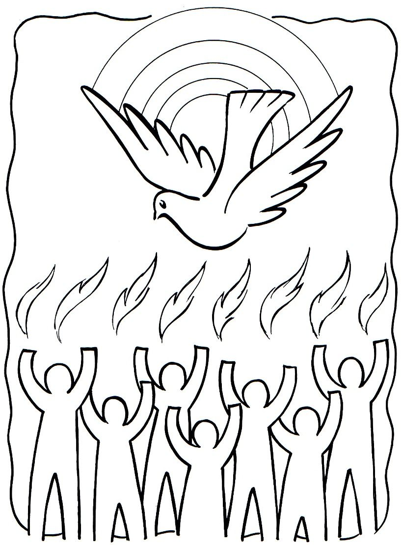 821x1110 Tongues Of Fire Coloring Pages Holy Spirit Pentecost Coloring