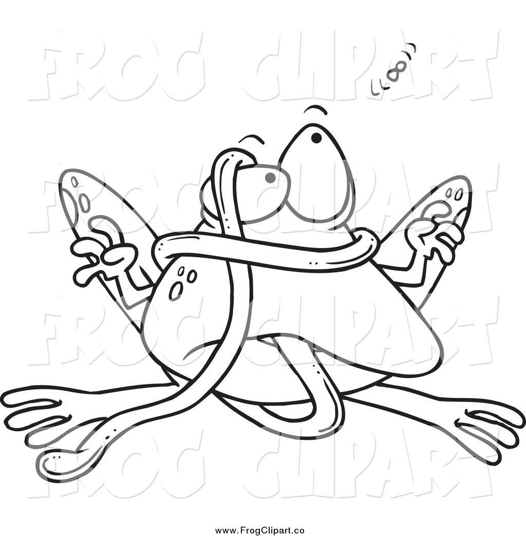 1024x1044 Clip Art Of A Black And White Frog Tangled In His Tongue