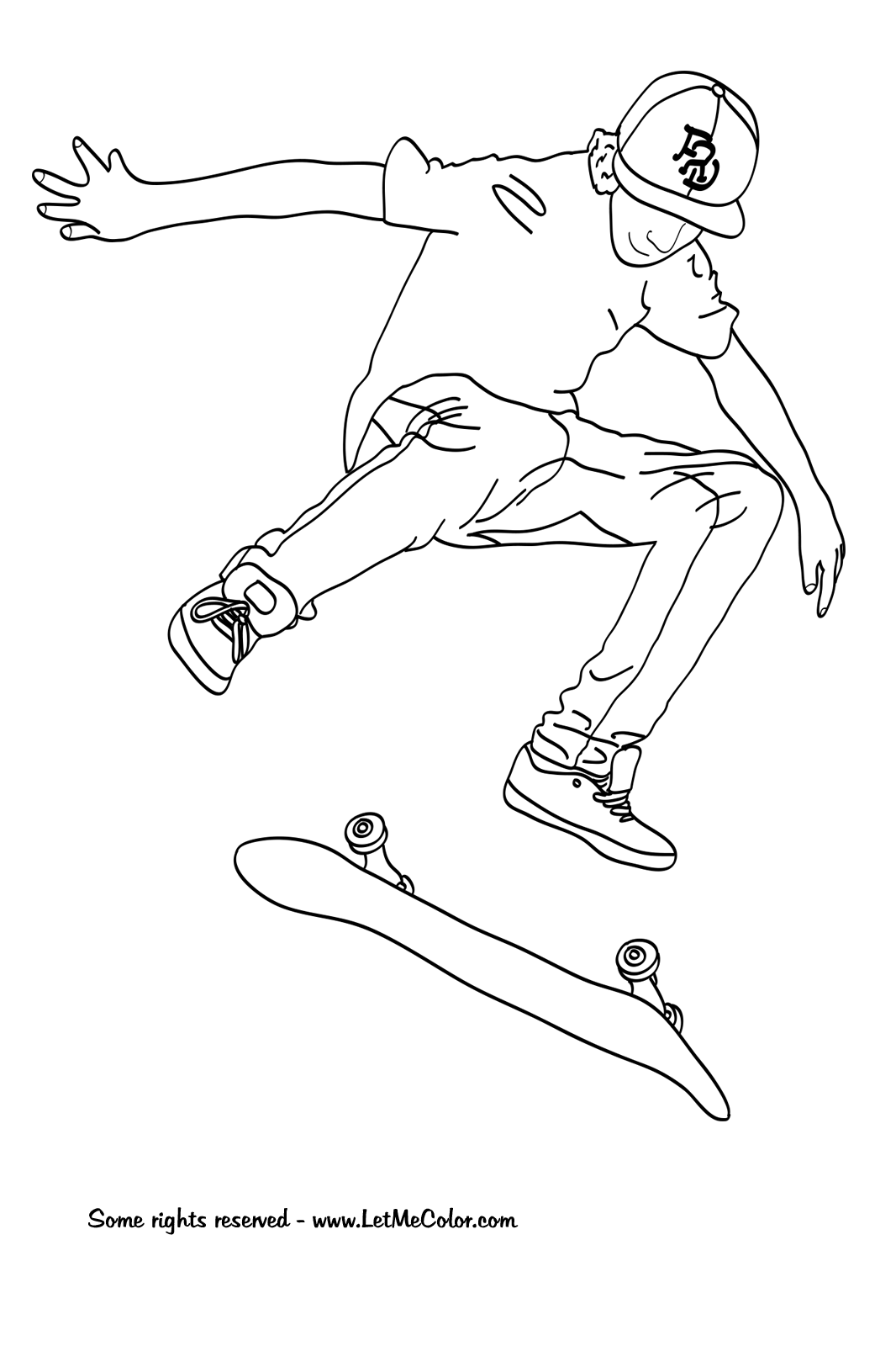 1066x1600 Skateboard Coloring Pages