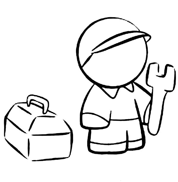 600x614 Technician With His Tool Box Coloring Page Coloring Sun