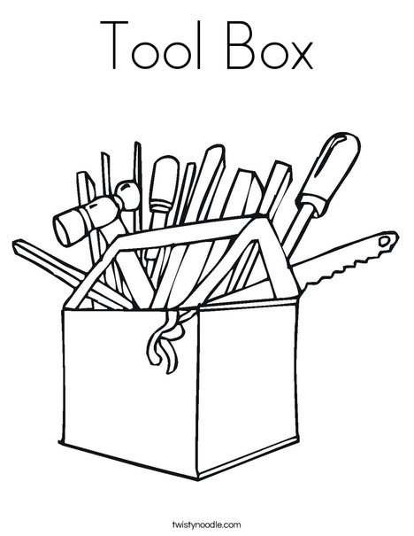468x605 Tool Box Coloring Page