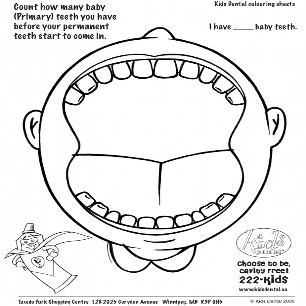 1024x1024 Tooth Coloring Pages Dental Pictures Archives Best Page Arilitv