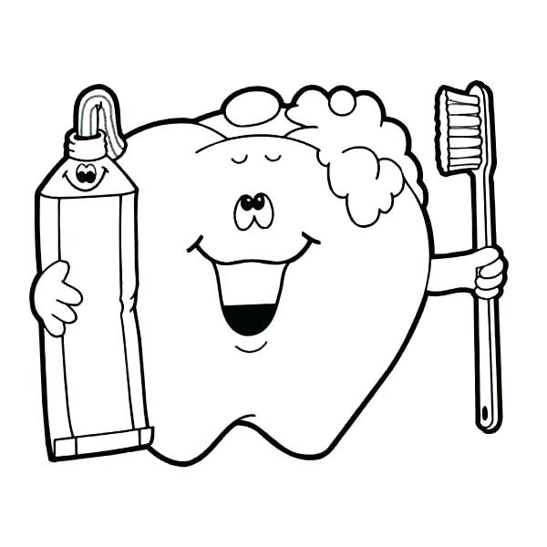 600x600 Brushing Teeth Coloring Picture For Kids Pages Printable Dental