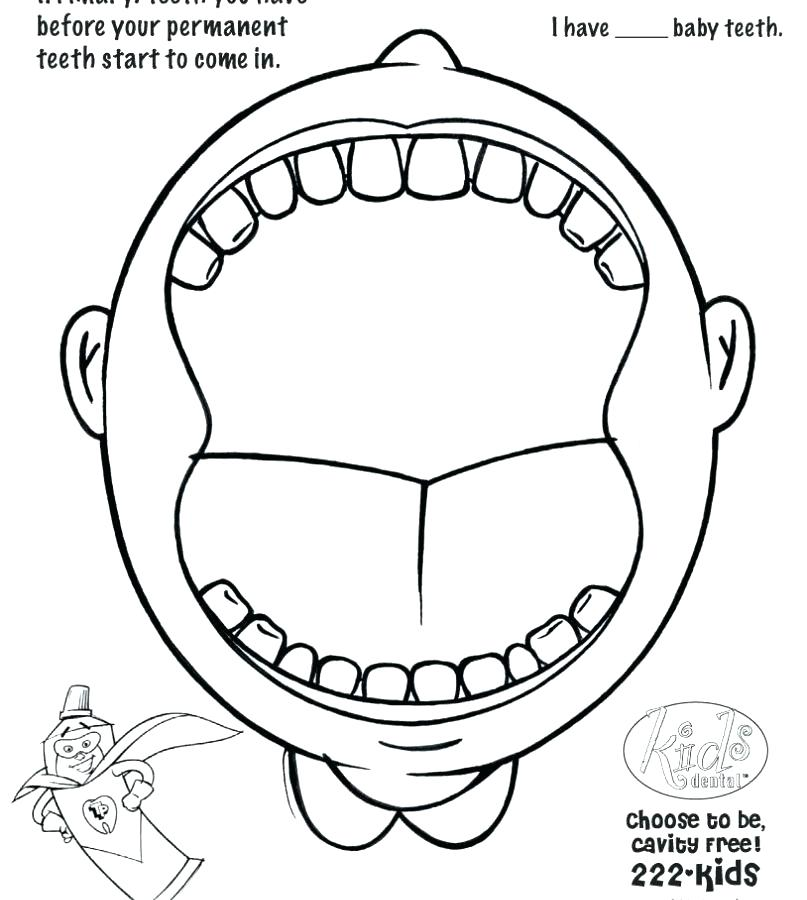 807x900 Tooth Coloring Pages Printable